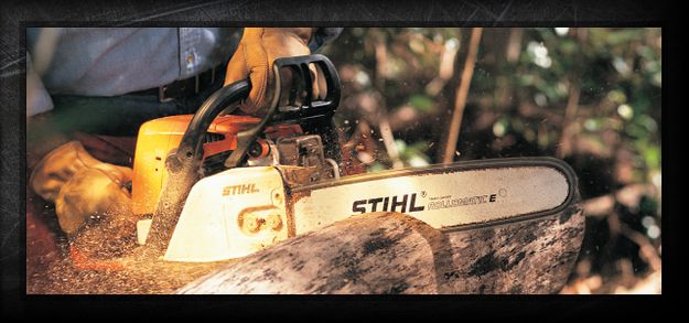 STIHL equipment cutting tree